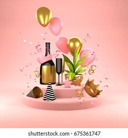 Pink Party Background - celebrations with champagne, balloons, party hat's and confetti