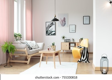 Pink pastel curtains in living room and yellow designer chair