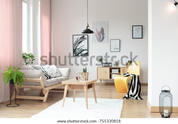 Pink Pastel Curtains Living Room Yellow Stock Photo (Edit ...