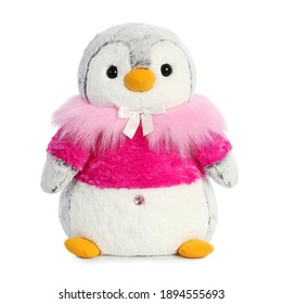 Pink Penguin Teddy Plush Toy Isolated on White. Front View of Toddler Soft Plushies Baby Toy. Kids Colorful Stuffed Animals Teddy Penguin. Fabric Stuffed Toys or Stuffies. Cute Cuddle Buddy