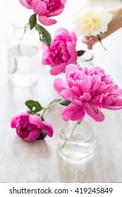 pink peonies in a glass of water. toning