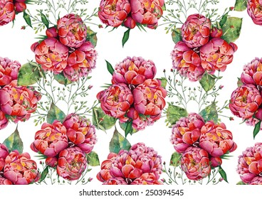 Pink peonies on white background pattern