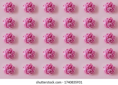 Pink peonies pattern, summer floral background for textile.