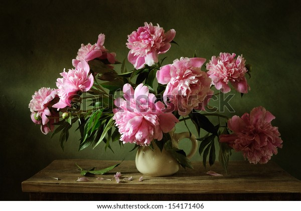 Pink peonies still life
