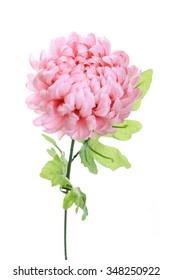 pink peony artificial flower isolated on white background