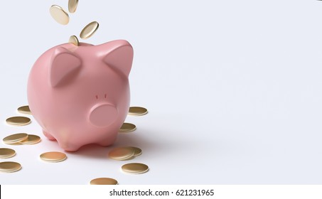 Pink pig with coins on white ground 3d