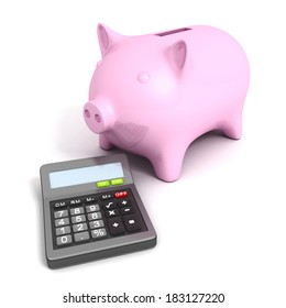 Pink piggy bank with calculatoron white background. Business financial calculation concept 3d render illustration
