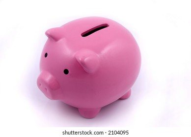 A pink piggy bank for coin deposits