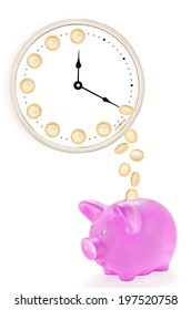 Pink piggy bank with coins falling from the clock