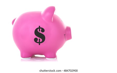 Pink Piggy Bank with a Dollar Symbol on a white background with copy space