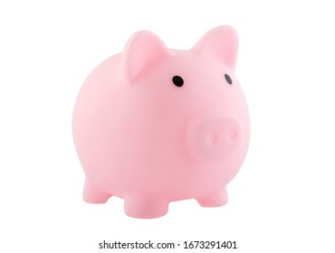 Pink piggy bank isolated on white with clipping path