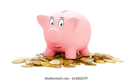Pink piggy Bank isolated on a white background. Standing on a pile of coins. She is happy.
