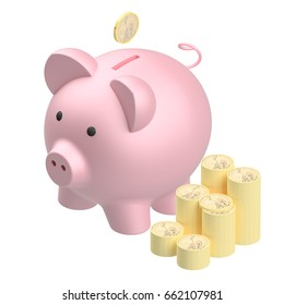 Pink piggy bank isolated on white background, 3d render illustration