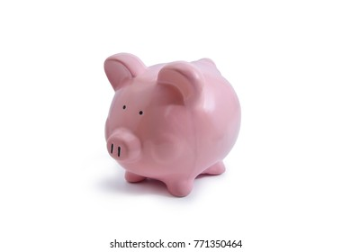 pink piggy bank isolated on white background. clipping path.