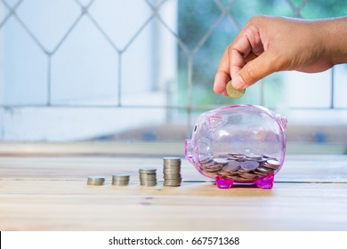 Pink piggy bank with a medal placed in front pile. There are men's hands are coin , The concept of saving money for the future