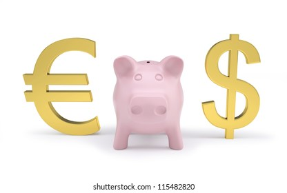 Pink piggy bank next to the golden dollar and euro signs. Isolated render on a white background