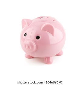 Pink piggy bank on a white background.