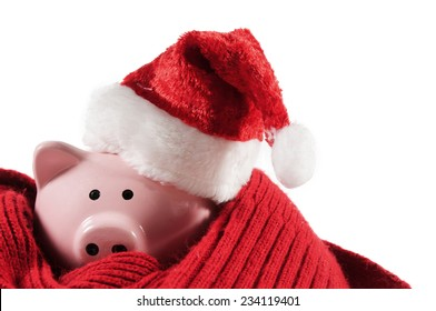 Pink piggy bank with a Santa Hat