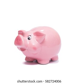 Pink piggy bank to save money white isolated