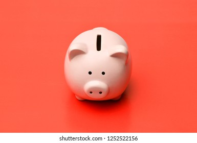 Pink piggy Bank stands in the center on a red background with a shadow. Horizontal photography