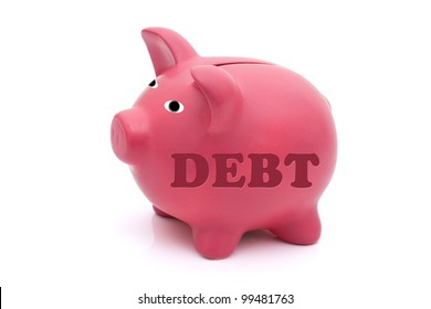 A pink piggy bank with word debt on it isolated on white, Repaying your debt