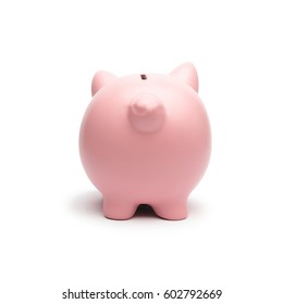 Pink piggy from behind on white background