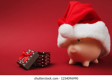 Pink piggy money bank with Christmas hat, present box with gift ribbon isolated on red background. Money accumulation, investment, wealth concept. Happy New Year, birthday holiday. Mock up copy space