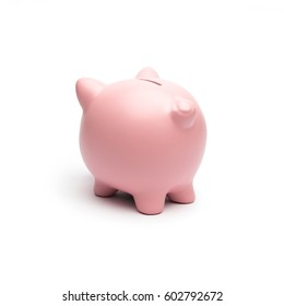 Pink piggy offended on white background