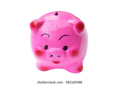 Pink pig-shaped piggy bank isolated on white background.