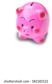 Pink pig-shaped piggy bank isolated on the white space