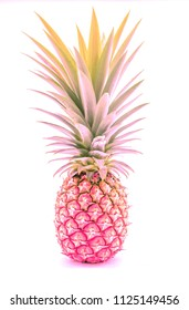 pink  pineapple, fruit , Fashion, travel, summer, isolated on white background . Creative made of pineapple .