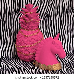 Pink pineapple and unicorn on zebra print background. Minimal creative art