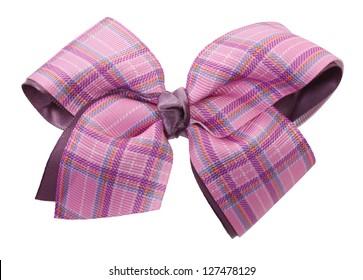 Pink plaid ribbon bow
