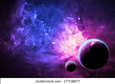 Pink Planet and Nebula - Elements of this image furnished by NASA