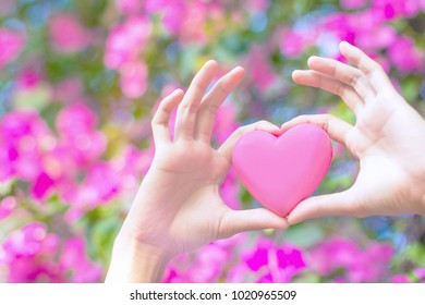 Pink plastic heart in woman hand with defocused pink flowers background.