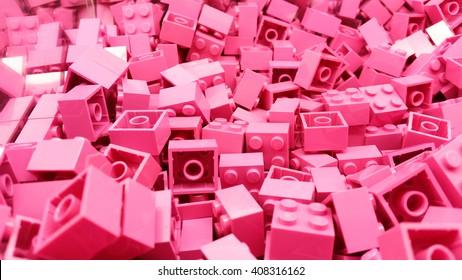 Pink plastic Lego blocks