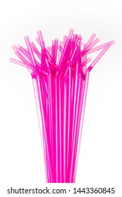 Pink plastic single use drinking straws,soon to be outlawed.