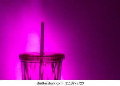 Pink Plastic Straw and Re-Usable Drink Glass Container