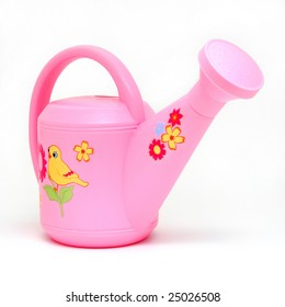 Pink Plastic Watering Can on White Background