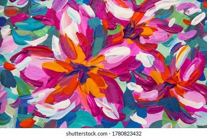 Pink Plumeria Flower Painting - Tropical Painting Art - Brush Painting Nature