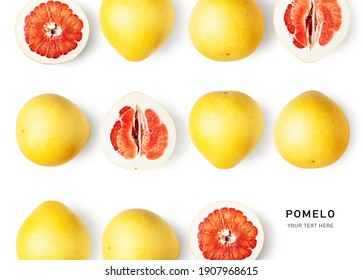 Pink pomelo as creative layout isolated on white background. Healthy eating and food concept. Shaddock citrus fruits composition. Flat lay, top view. Design elements