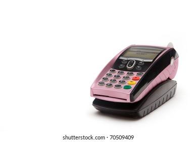 Pink Portable Credit Card Terminal on Base