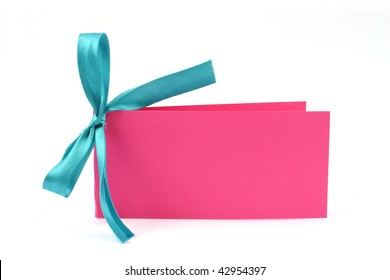 Pink postcard with with beautiful blue bow on  it