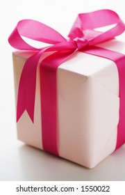 Pink present with pink bow