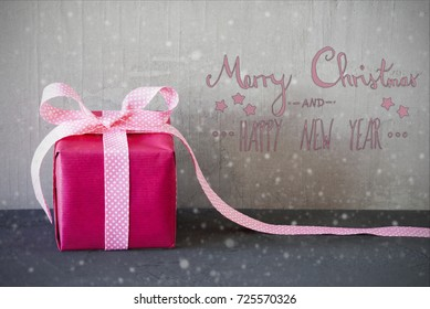 Pink Present, Calligraphy, Snowflakes, Merry Christmas And Happy New Year