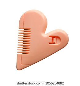 Pink pubic hair comb for shaving purpose. Isolated with clipping path in file.