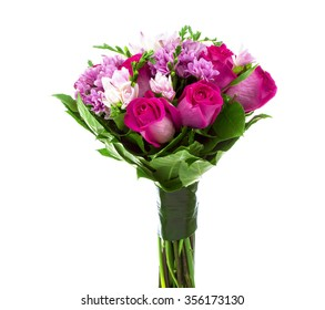 Pink and purple bouquet on white