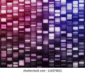 Pink and purple DNA strands on black background