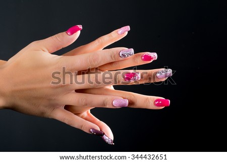 Pink Purple Nail Decorated Christmas Stock Photo Edit Now