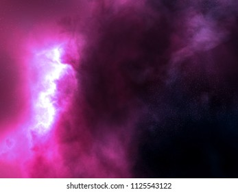 pink and purple nebula space stars sky CG illustration background